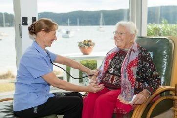 Care Worker helping Oxley Home Care
