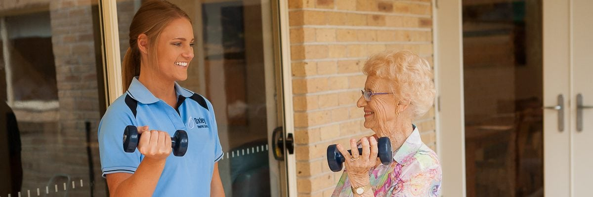 Building muscle strength with an Oxley Home Care client