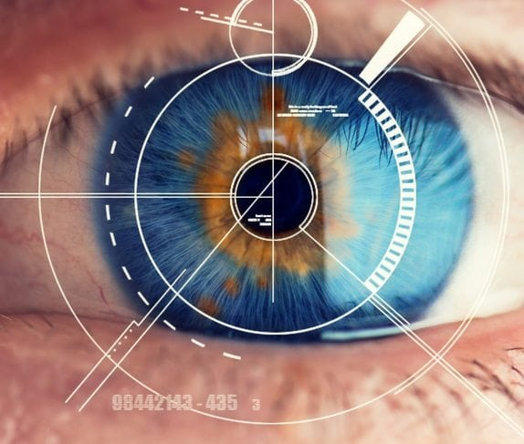 Dementia Care at home, Retina of eye being examined