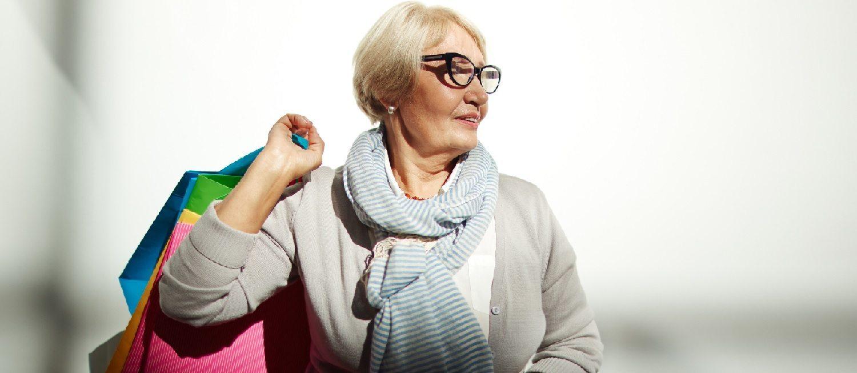 Elderly woman Christmas shopping